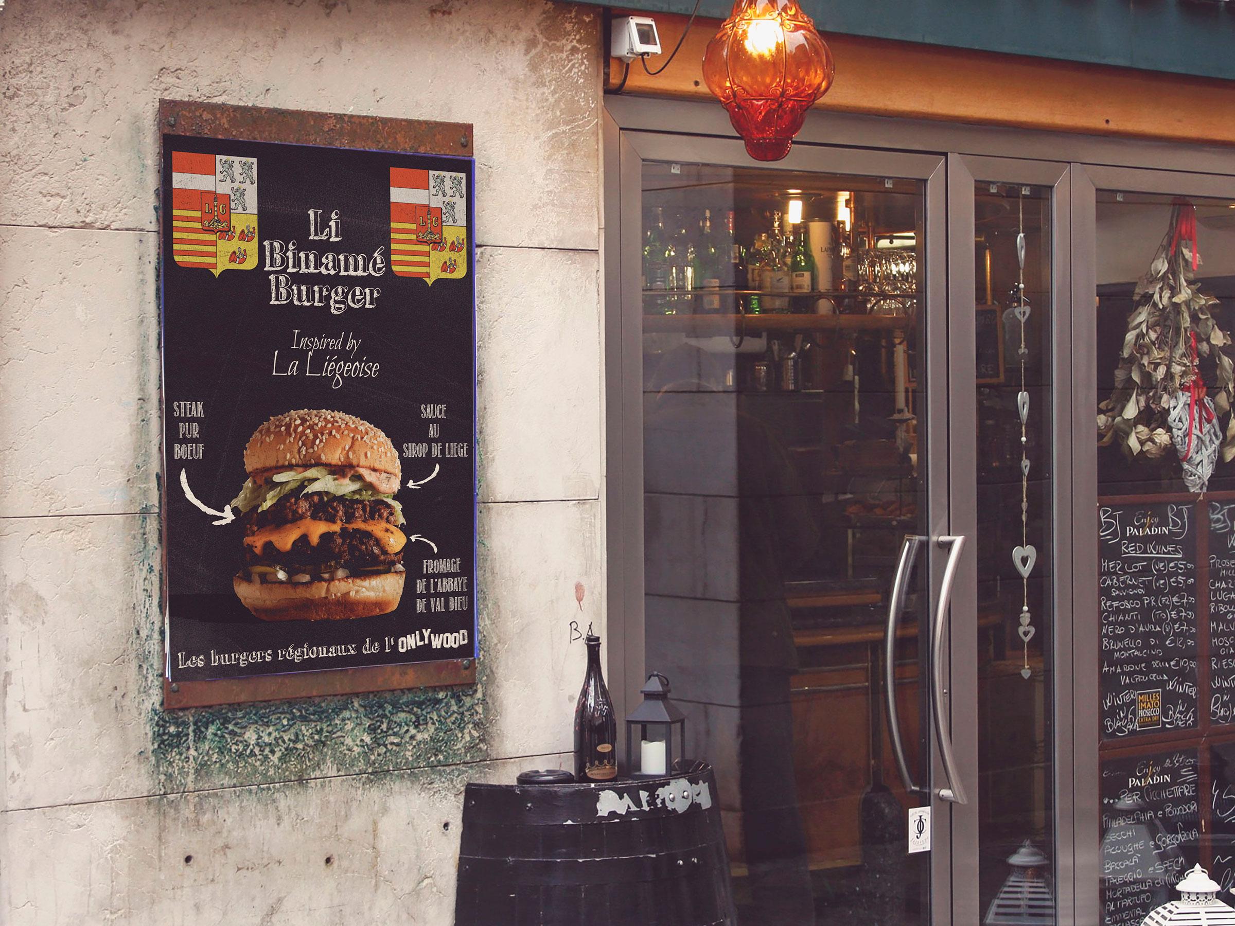 Affiche pour le Burger de la Liégeoise, à l'Onlywood