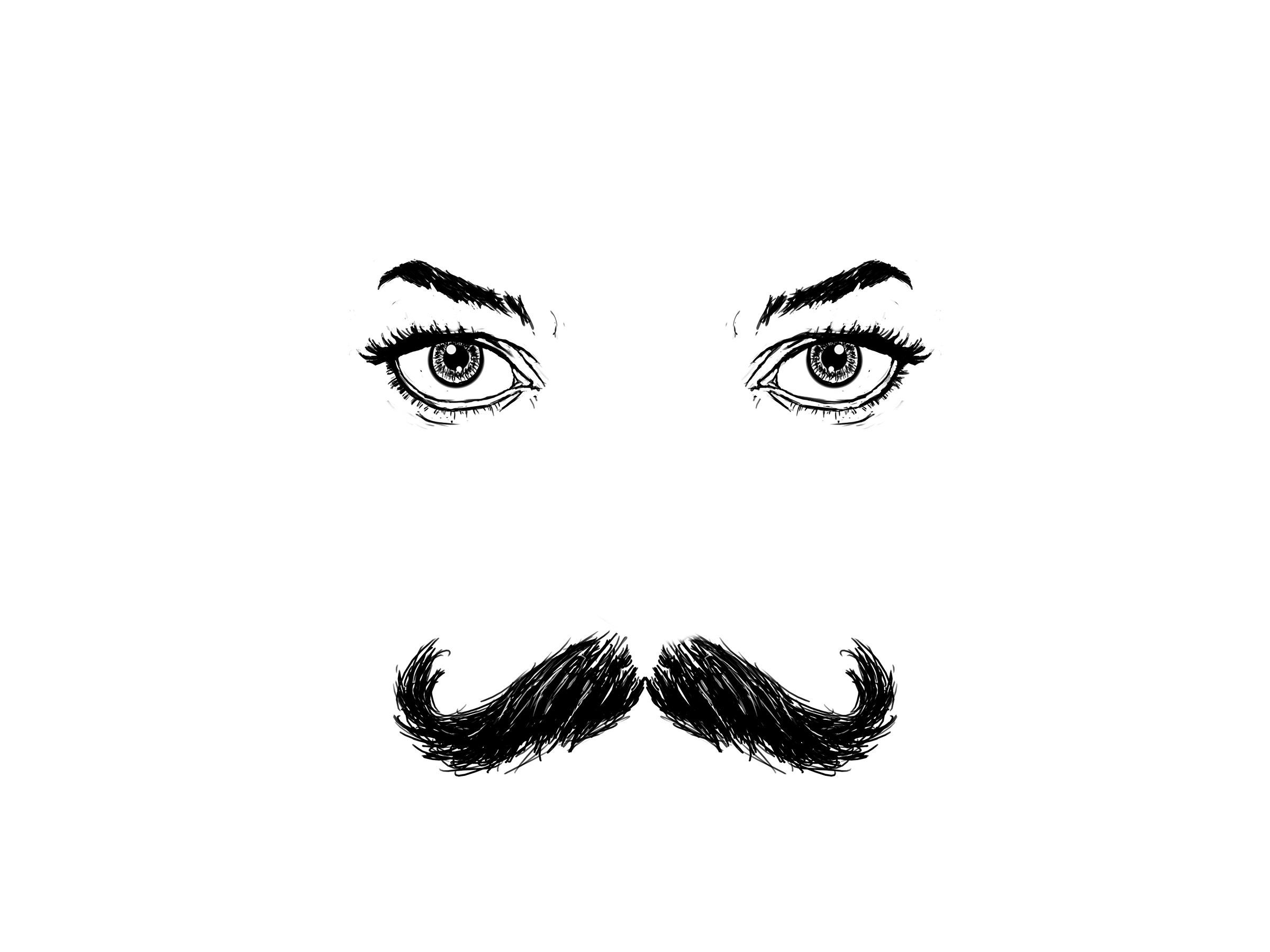 yeux féminins avec une moustache