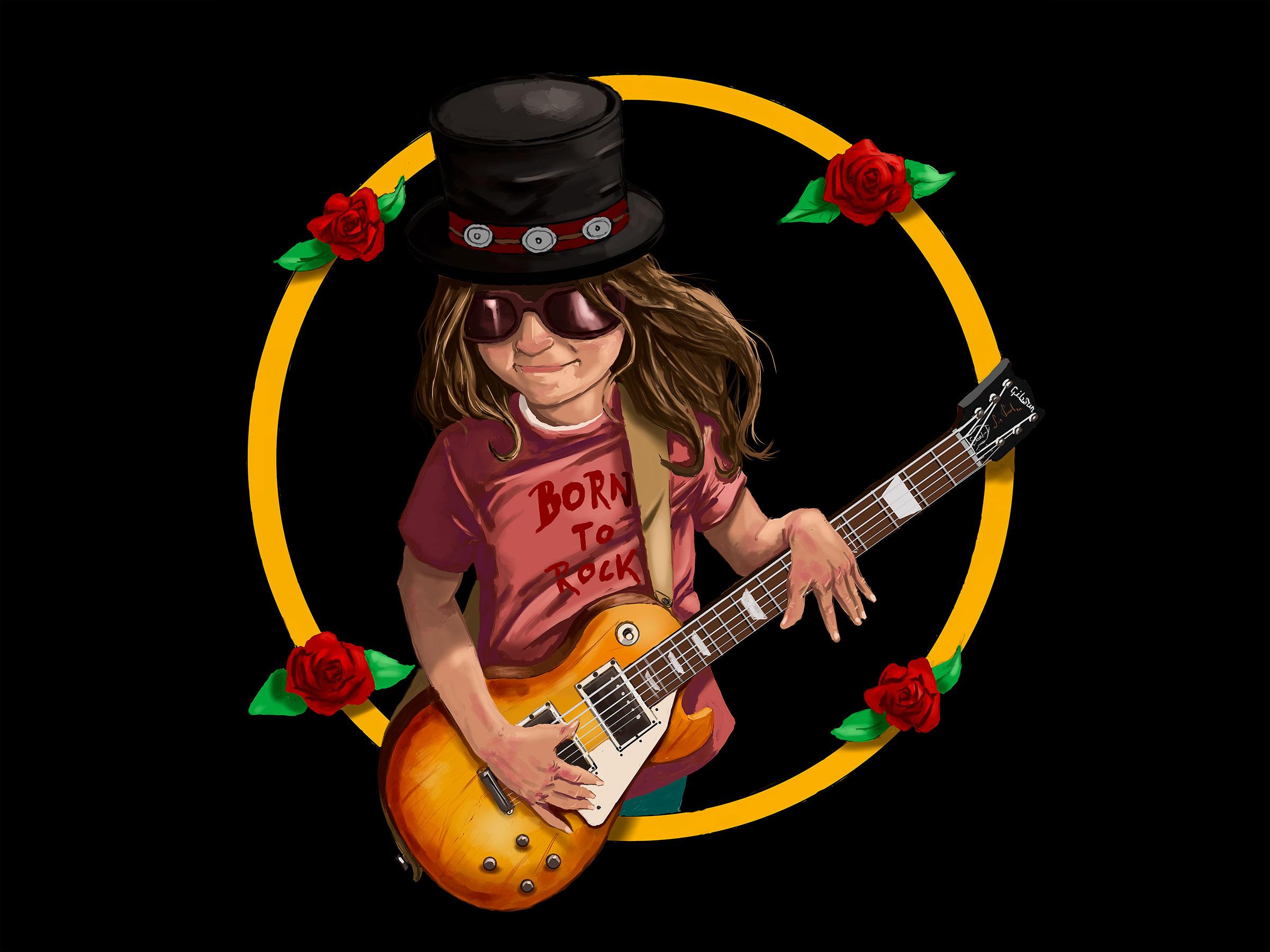 portrait d'une petite fille fan de Slash